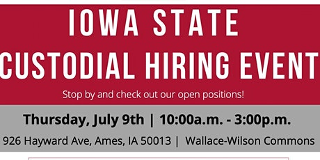 Iowa State Custodial Hiring Event tickets