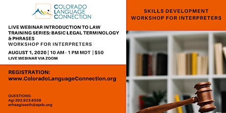 LIVE WEBINAR Intro to Law Training series Basic Legal Terminology & Phrases tickets