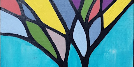Youth Art Lessons -  Painting a stained glass tree design tickets