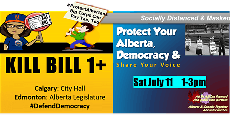 Defend Democracy in Alberta (Calg) Kill Bill 1 + Others Muzzling Albertans tickets