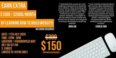 Learn how to build website in 1 day and earn EXTRA $1000 - $2000 / month tickets