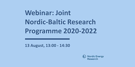 Webinar for the joint Baltic-Nordic Energy Research programme 2020-2022 tickets
