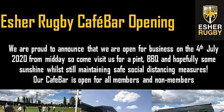 Esher Rugby CafeBar opens 4th July - all welcome tickets