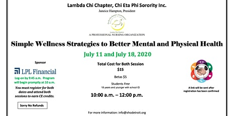 Simple Wellness Strategies to Better Mental and Physical Health 2020 tickets