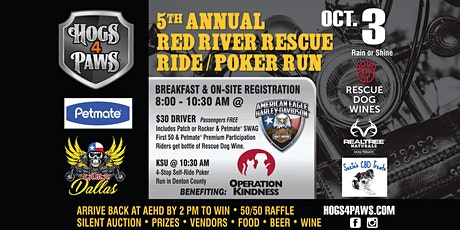 5th Annual Hogs 4 Paws® Red River Rescue Ride & Poker Run tickets
