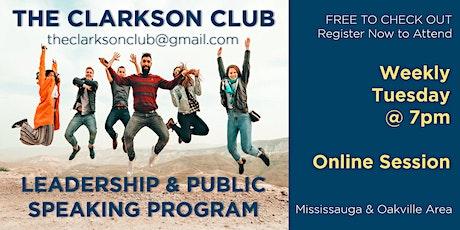 LEADERSHIP & PUBLIC SPEAKING PROGRAM - Clarkson Toastmasters in Mississauga tickets