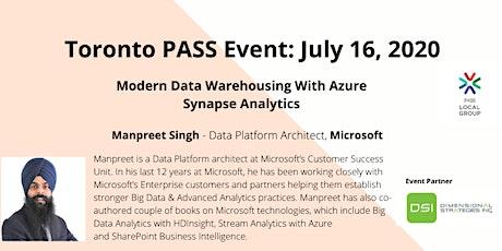 Toronto PASS: Modern Data Warehousing With Azure Synapse Analytics entradas