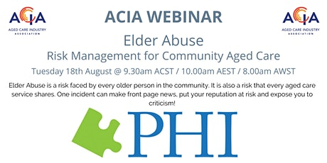 Elder Abuse - Risk Management for Community Aged Care tickets