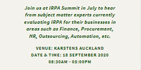 Intelligent Robotic Process Automation Summit - Auckland - 18 September tickets