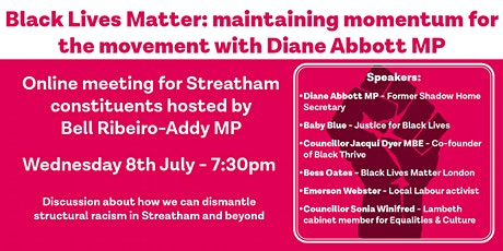 Black Lives Matter: Maintaining Momentum for the Movement w Diane Abbott MP tickets
