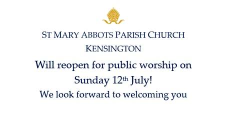 St Mary Abbots Church Sunday Services, 12th July tickets