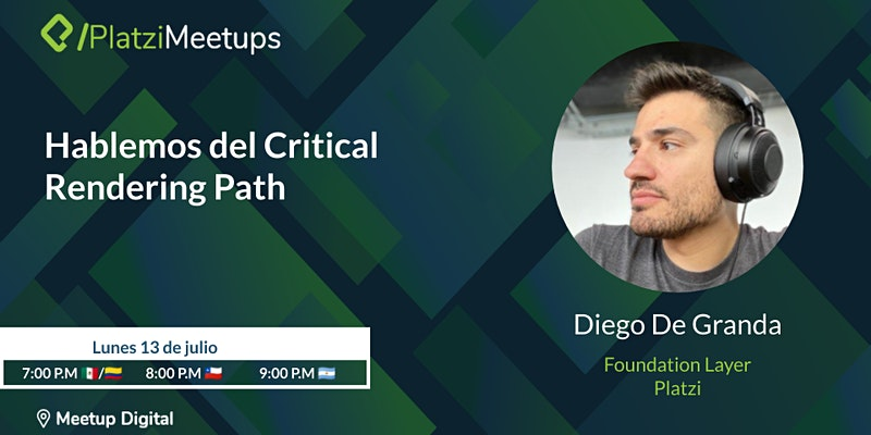 Anuncio de Platzi Developer Group del 13 de julio a las 7pm
