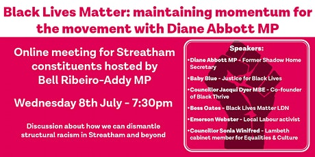 Black Lives Matter: Maintaining Momentum for the Movement w Diane Abbott MP tickets