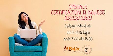 Speciale certificazioni di inglese 2020/2021 - colloqui individuali biglietti