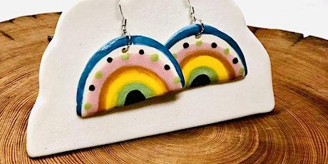 The Blackheath Creative -Ceramic rainbow earrings on a Porcelain cloud tickets
