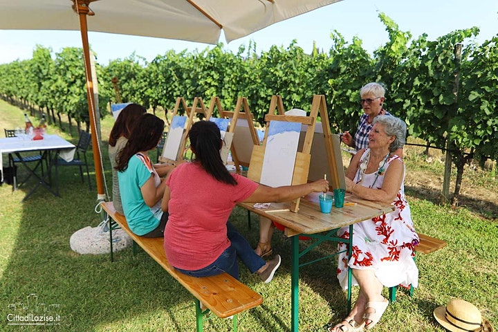 Colour Me Wine! Painting in the vineyard tasting food and wine image