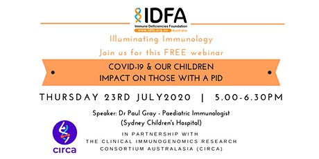 COVID-19 and our Children - The impact on those with a PID tickets