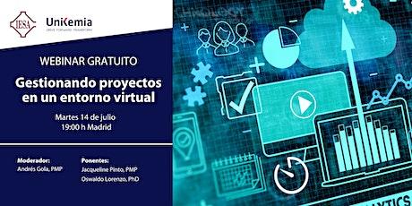 Webinar: Gestionando proyectos en un entorno virtual entradas