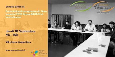 Présentation du programme du 2ème semestre de GrasseBIOTECH et InnovaGrasse billets