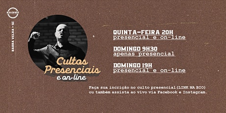 CULTO DOMINGO 19H (12-07-2020) ingressos