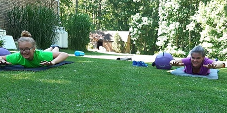 Mom & Daughter Pilates under the shade with baby ducks in pond tickets
