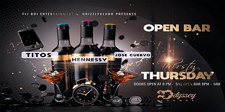 THURSDAY Open Bar $15 Thirsty Thursday @ Odyssey Lounge tickets