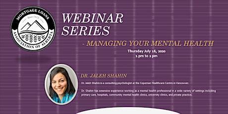 MLAA Webinar Series- Managing your Mental Health tickets