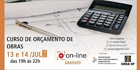 CURSO DE ORÇAMENTO DE OBRAS  ingressos