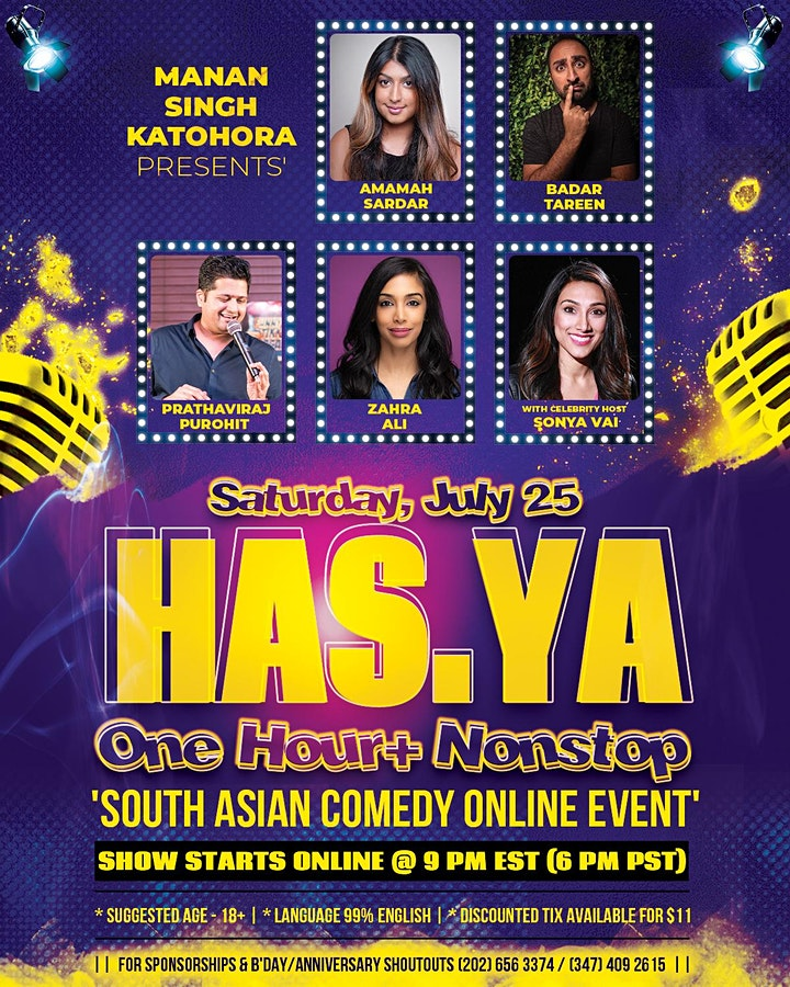 'HAS.YA' - South Asian Comedy ONLINE Event FEATURING 5 Celebrity Comedians image
