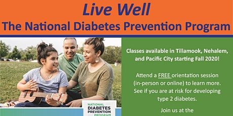 Orientation for National Diabetes Prevention Program in person or virtual tickets