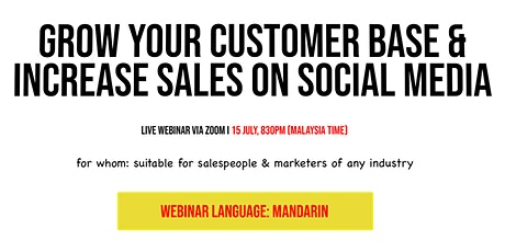 Mandarin Webinar: Grow Customer Base & Increase Sales On Social Media tickets