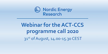 Webinar for the ACT-CCS programme call 2020 tickets