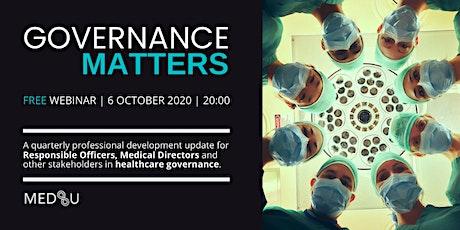 MEDSU Governance Matters Webinar - October 2020 tickets