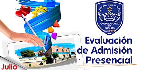 Evaluación de admisión presencial boletos