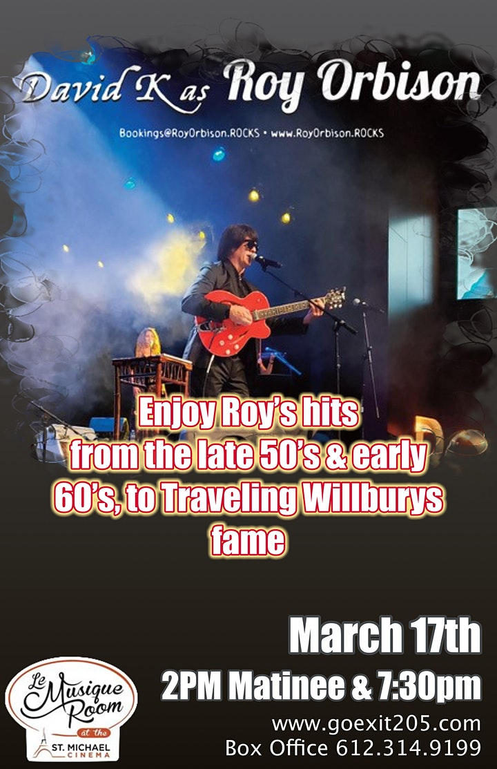 Roy Orbison Tribute by David K and his band 7:30pm image