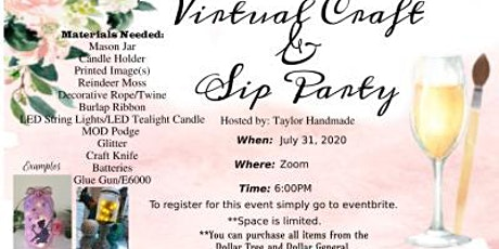 Virtual Craft and Sip Party tickets