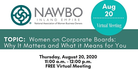 NAWBO-IE August 2020 Virtual Meeting tickets