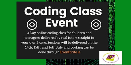 Three day coding class for 5th to 6th class children tickets