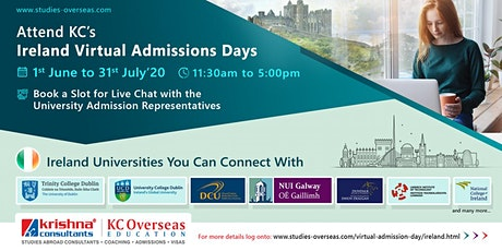 Attend Ireland Virtual Admissions Days from 1st June to 31st July 2020 tickets