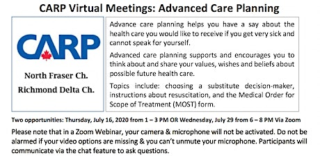 Virtual Healthcare Workshops: Advance Care Planning tickets