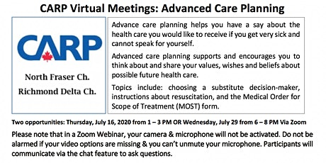 Copy of Virtual Healthcare Workshops: Advance Care Planning tickets