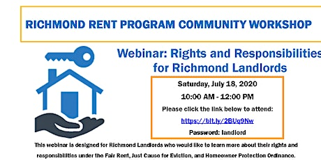 Richmond Rent Program Workshop Webinar tickets