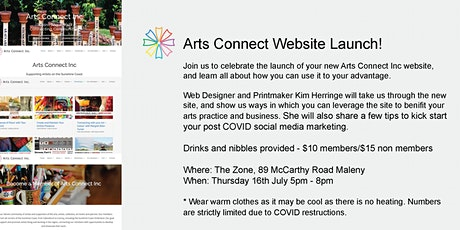 Arts Connect Website launch tickets