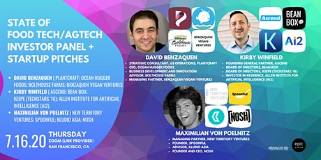 State of Food Tech/AgTech Investor Panel + Startup Pitches (On Zoom) tickets
