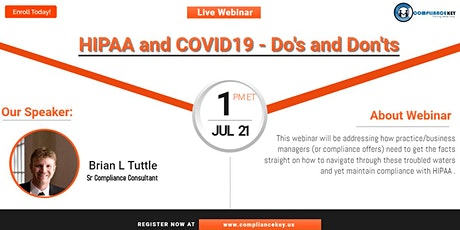 HIPAA and COVID19 - Do's and Don'ts tickets