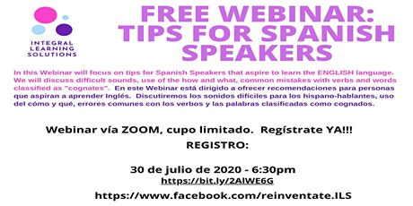 Tips for Spanish Speakers tickets