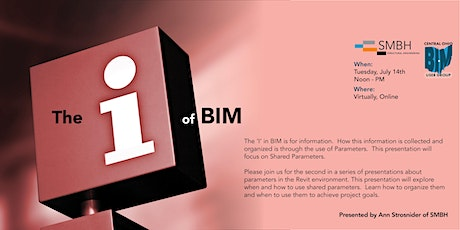 COBUG Presents:  The 'I' of BIM!  Shared Parameters! tickets
