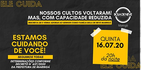 CULTO QUINTA (16/07) 20h00 ingressos