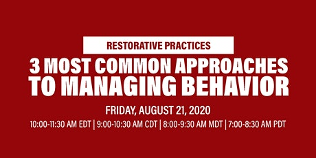 Virtual Workshop: 3 Most Common Approaches to Managing Behavior In Schools tickets