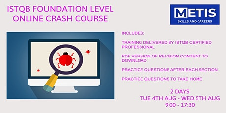 2 Day ISTQB Foundation Level Online Crash Course (excl. Examination) tickets